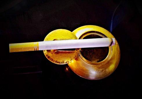 Cigarette, Tobacco, Pocket Ashtray, Brass