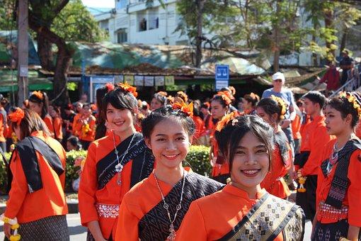 Parade, Udonthani, Birthday, Orange, Buddhism, Thailand