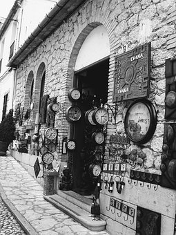 Shop, Clocks, Guadalest, Spain, Facade, House