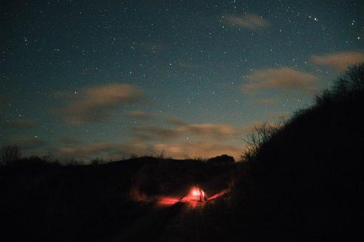 Summer, Night, Obloka, Star, Comfort