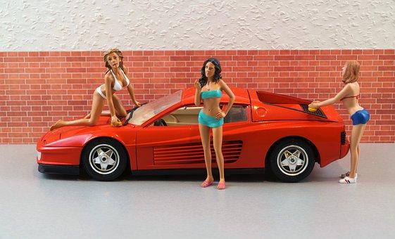 Model Car, Ferrari, Model, Diorama, Auto, Oldtimer
