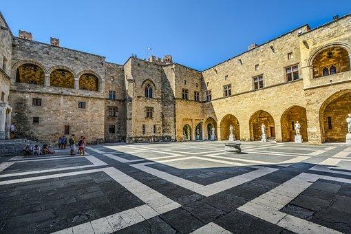 Rhodes, Greece, Castle, Courtyard, Greek, Travel