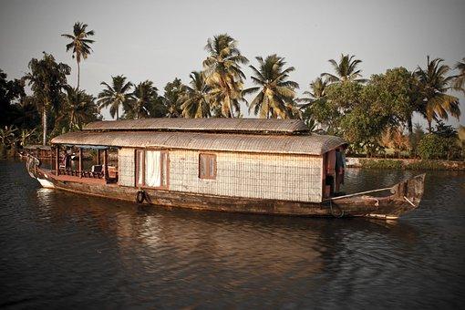 Backwaters, India, Kerala, Water, Palm, Houseboat, Boat