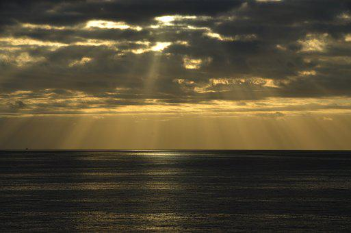 Sunrise, Sea, Ship, Morgenstimmung, Morgenrot, Nature