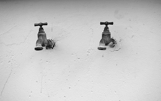 Faucets, Metal, Tube, Pipes, Wall, Black And White