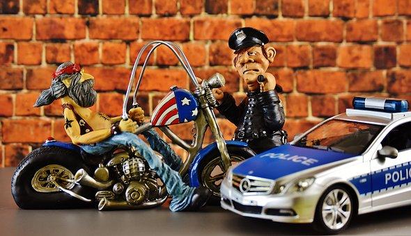 Biker, Motorcycle, Police, Cop, Police Check