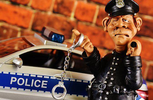 Police, Cop, Police Check, Figure, Funny, Model Car