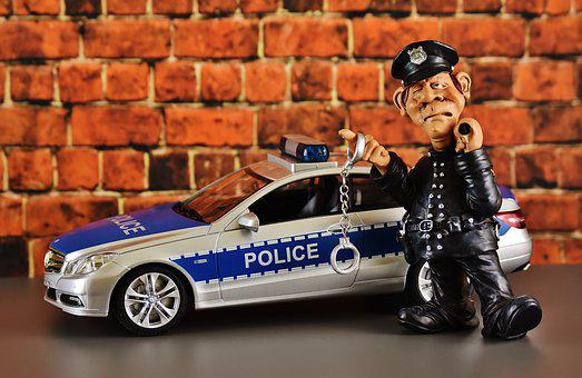 Police, Cop, Police Check, Mercedes Benz, Figure, Funny