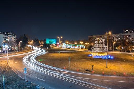 Night, Traffic, Bulgaria, Burgas, City, Road, Urban