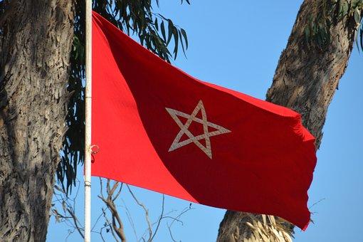 Flag, Morocco, Star, Flutter, Red, Blow, Wind