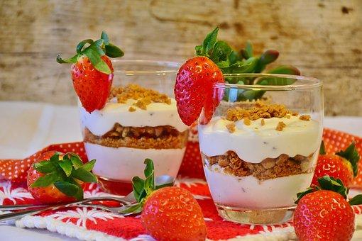 Strawberry Dessert, Strawberries, Dessert, Yogurt