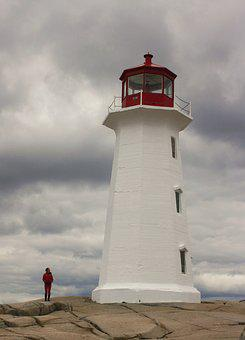 Lighthouse, Red, White, Ocean, Coast, Travel, Sea