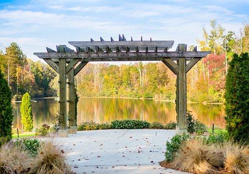 Wedding, Reception, Park, City, Outdoor, Arch, Pergola