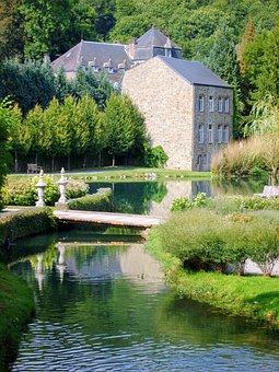 Ardennes, Castle, Pond, Houses, Belgium, Landscape