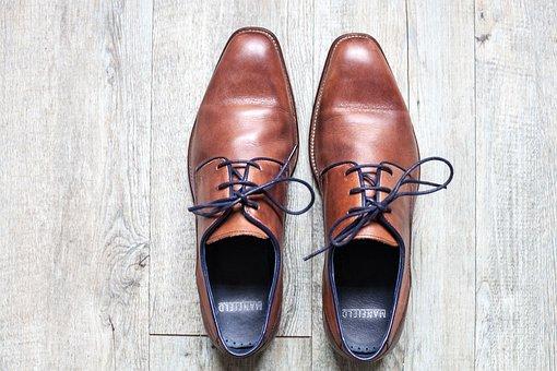 Shoe, Brown, Leather, Blue Grey, Former, Vintage, Laces