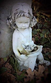 Girl, Sitting, Figure, Statue, Cherub, Cemetery