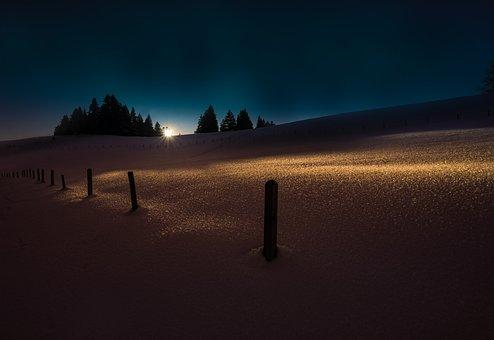 Winter, Light, Shadow, Snow, Desktop Background