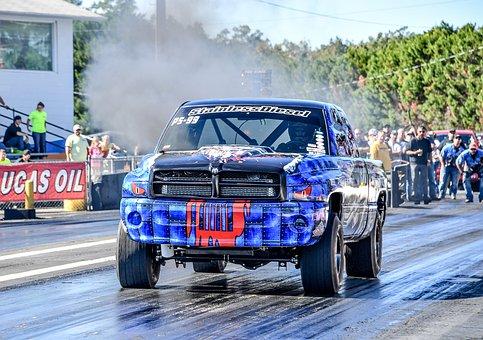 Diesel, Drag, Racing, Truck, Race, Track, Blue Truck