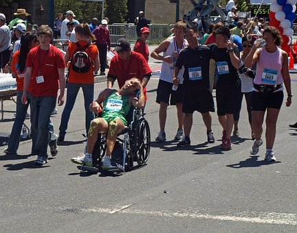 Marathon, Race, Runner, Exhausted, Wheelchair, Finish