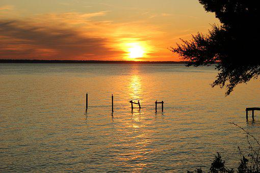 Sunset, River, Water, James River
