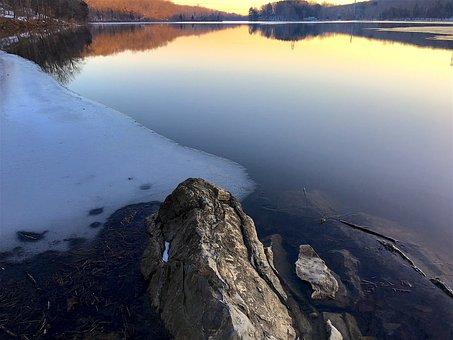Rock, Lake, Winter, Water, Landscape, Nature, Sky, Blue