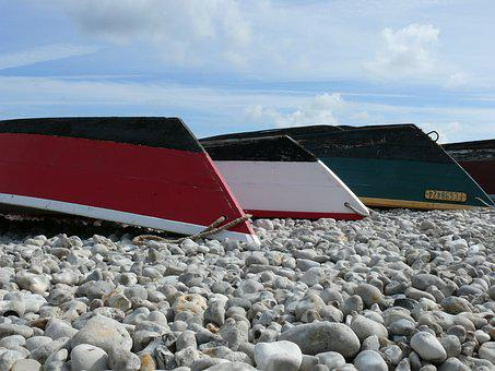 Sea, Sky, Cloud, Boats, Blue, Beach, Roller, Normandy