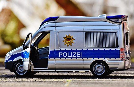 Police Car, Team Bus, Police, Blue Light, Toys