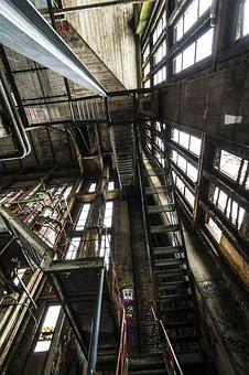 Power Plant, Stairs, Metal, Gradually, Architecture