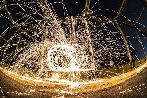Steel Wool, Fire, Leisure, Night Photo, Reflection