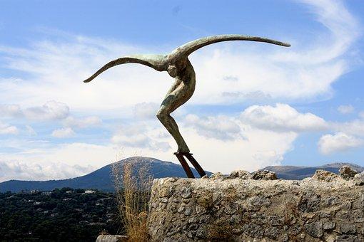 France, Gourdon, Sculpture, Flying Human Being, Art