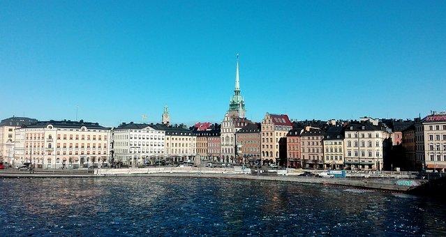 Stockholm, Sweden, Houses, Sea, Scandinavia, Sky, Blue