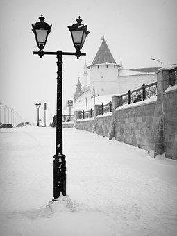 Lantern, Street, The Kremlin, Kazan, Winter, Snow, Wall