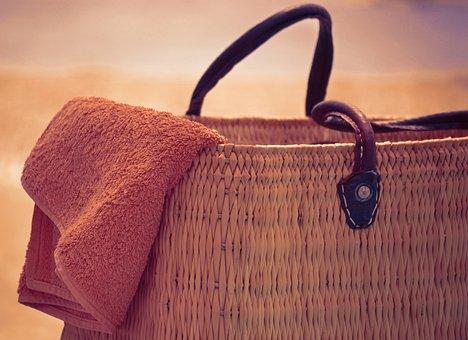 Beach Bag And Towel, Summer, Sun, Holiday, Vacation
