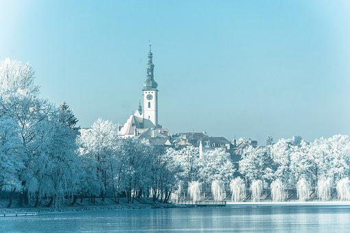 City, Camp, Tower, Water, Architecture, Bank, Winter