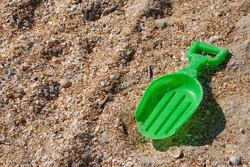 Toy Shovel, Beach, Left Behind, Toy, Children, Child