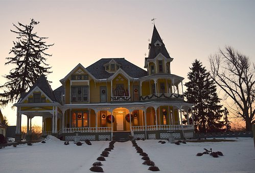 House, Sunrise, Victorian, Ornate, Tree, Dawn, Sky