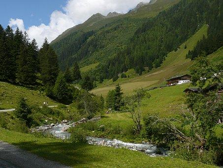 Austria, Valley, Creek, Landscape, Alpine, Nature
