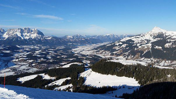 Mountains, Alpine, Kitzbühel, Sun, Snow, Winter