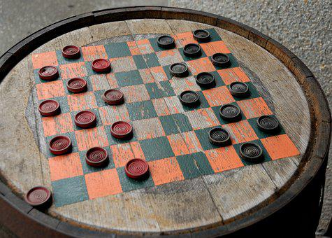 Checker Board, Barrel, Vintage, Game, Amusement