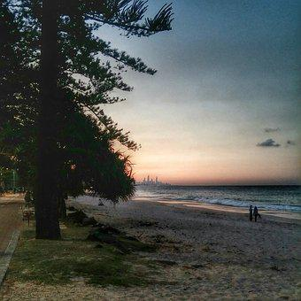 Australia, Gold Coast, Sunset, Burleigh Heads, Sea