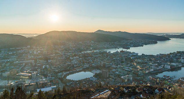 Bergen, Noway, Sunset, Elevated View, Architecture