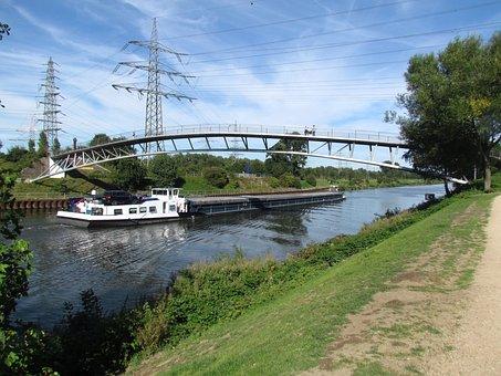 Bridge, Channel Oberhausen-osterfeld, Autumn, Ship