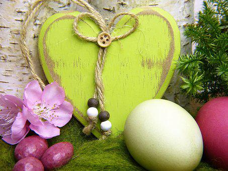 Heart, Wood, Green, Deco, Nature, Easter Eggs