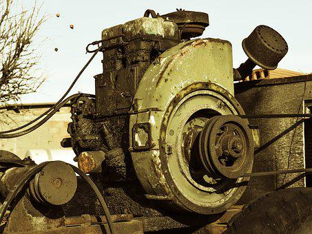 Generator, Old, Engine, Power, Electricity, Antique