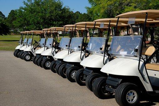 Golf Carts, Golf, Course, Green, Sport, Grass, Game