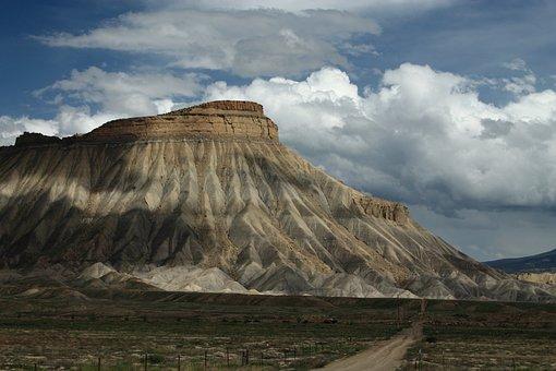 Mt Garfield, Mountains, Colorado, Mesa, Sky, Scenic