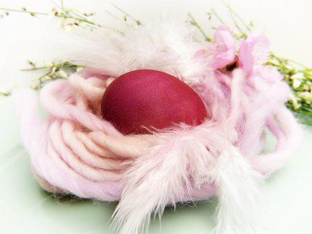 Easter Nest, Egg, Red, Wool, Nest, Color, Dye Eggs
