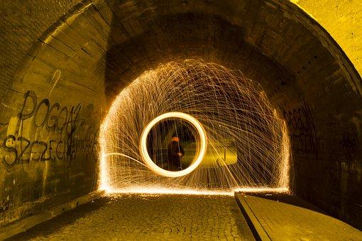 Near Fire, Wheel, Fire, Light Painting, Night, Light