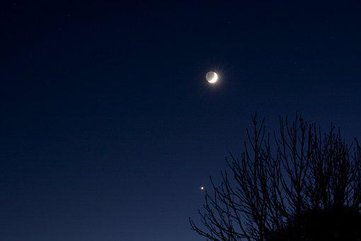 Moon, Venus, Planet, Astronomy, Panorama, Earthshine