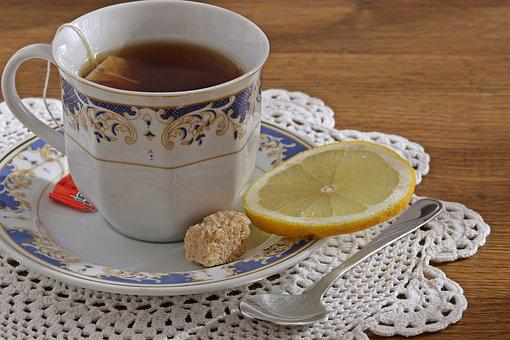 Tea, A Cup Of Tea, Lemon, Porcelain, Sugar Cube